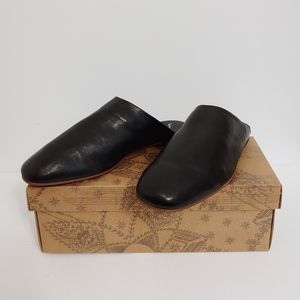 Free People Reese flats Leather Mules sz 39 Black